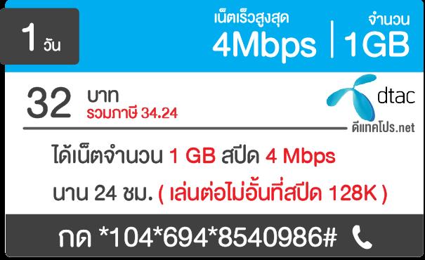 เน็ตรายวัน ดีแทค 32 บาท 4Mbps