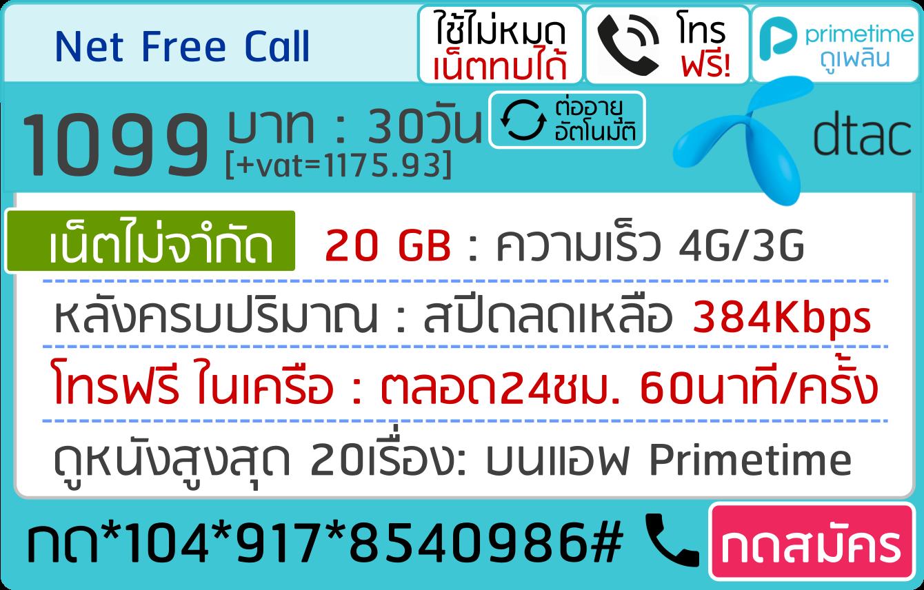 net free call 1099บาท 30วัน 917